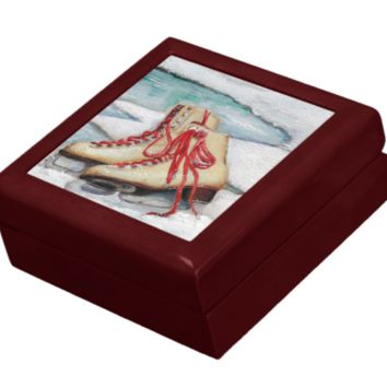 Keepsake/Jewelry Box - Skates - Lacquer Wood Box