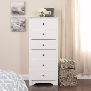 White Monterey Tall 6 Drawer Chest