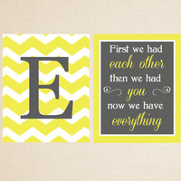 Nursery 8x10 Print Set - First We Had Each Other Then We Had You and Monogram - Nursery Art - Children Room Decor - Pick Your Colors