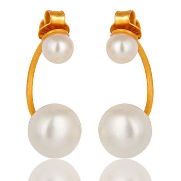24K Yellow Gold Plated Sterling Silver Natural Pearl Designer Post Stud Earrings