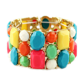 Multi Color Candy Bead Elastic Bracelet