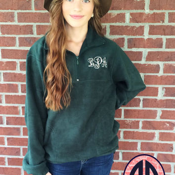 Monogram Fleece Half Zip Pullover, Monogrammed Pullover, Monogram Fleece Sweatshirt, Team Pullovers, Bridesmaid Gift, Sorority Gift