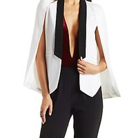 COLOR BLOCKED STRUCTURED CREPE CAPE BLAZER