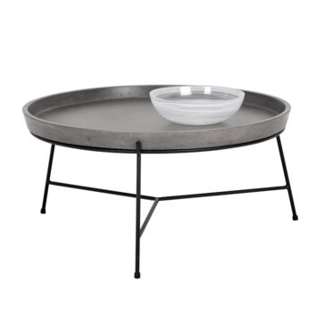DEMO BLACK METAL FRAME WITH GREY CONCRETE TRAY-LIKE TOP COFFEE TABLE