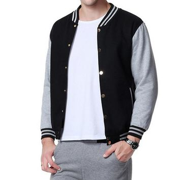LASPERAL Band Clothing Men Patchwork Fleece Varsity Baseball Jacket Preppy Style Double Breasted Mens Jackets And Coats