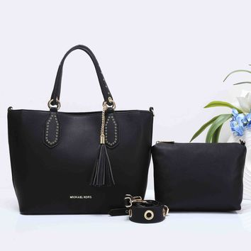 MK MICHAEL KORS Women Shopping Bag Leather Tote Handbag Shoulder Bag Two Piece Set Black G-XS-PJ-BB