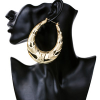 Gold Plated Large Big Metal Circle Bamboo Hoop Earrings for Women Jewelry fashion hip hop exaggerate earrings hot sale