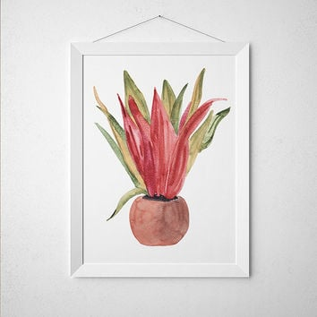 Botanical print Potted plant poster Flower print Watercolor art ACW654