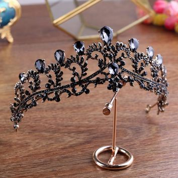 Black Crown wedding tiara headband rhinestones Bridal Hair Accessories vintage crowns bride diadem pageants head hair jewelry