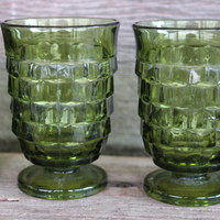 Vintage glassware, 4 oz Olive Green Whitehall Cubist small footed tumblers, RETRO green juice glasses, Vintage American Fostoria Cube goblet