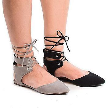 Deanna01 By Breckelle's, Pointy Toe Laced Ankle Cuff Leg Wrap Ballerina Flat Sandals
