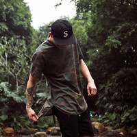 2016 top new kanye west YEEZY SEASON oversized Men's t-shirt hiphop Casual yeezus Short sleeve Tee Camouflage Mix color