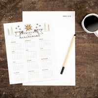 Instant Download Calendar - Outdoor Desktop - Hand Drawn - 8x10