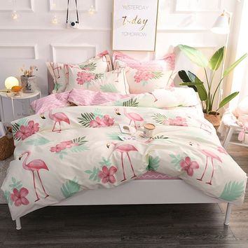 2018 Flamingo Printing Bedding Set 100% Cotton Duvet Cover Flat Sheet Pillowcase Comforter Bed Set Twin Full Queen King Size