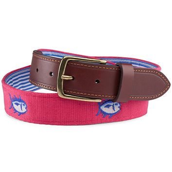 Embroidered Skipjack Belt in Port Side Red by Southern Tide