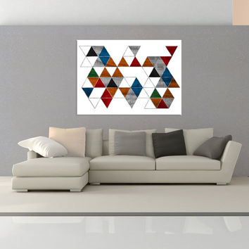 Mid Century Wall art canvas, Colorful modern canvas print, colorful wall art print, Geometric Wall art, canvas abstract wall art No.728