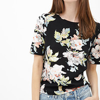 Textured Floral Print Top