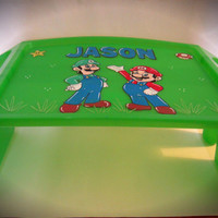 Personalized Hand Painted Lap Desk With Mario and Luigi