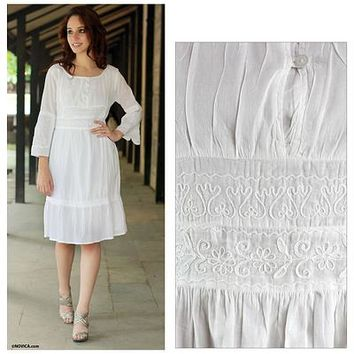 White Cotton Dress with Indian Chikankari Hand Embroidery - Quiet Joy | NOVICA