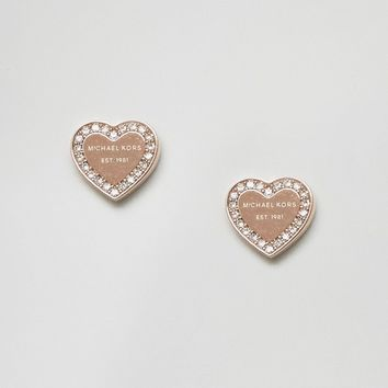 Michael Kors Rose Gold Heart Stud Earrings at asos.com