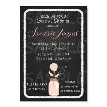 Bridal shower invitation - mason jarl birthday invitation - mason jar invite - chalkboard mason jar invitation - baby shower invitation