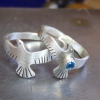 Sterling silver wedding bands or lovebird ring set  - 925 RG8803