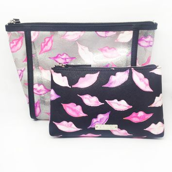 Lips Glitter Vinyl Large 2 Piece Cosmetic Bag Set