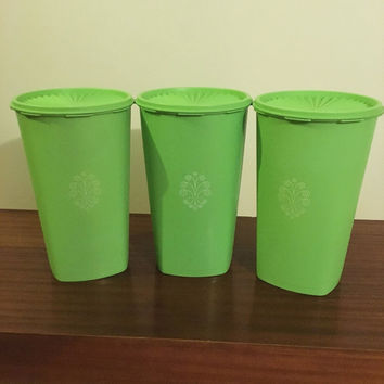Vintage 1970s Set of Three (3) Large Green Tupperware Kitchen Canisters with Servalier Press Lid / Retro White Motif on Canisters