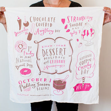 "Dessert Holidays Dish Towel, 30""x30"", cotton screen printed dish towel, tea towel, kitchen towel"