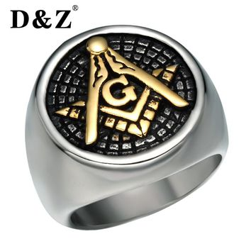 D&Z Vintage Freemasonry Free Masonic Rings of Men Gold Silver Stainless Steel Master Signet Male Masonic Ring Band Punk Jewelry