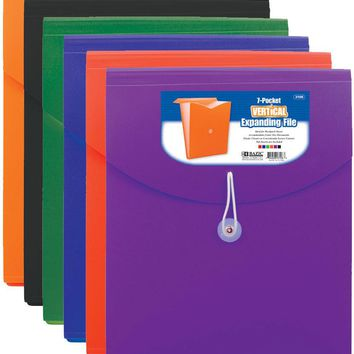 BAZIC 7-Pocket Letter Size Vertical Poly Expanding File Case Pack 12