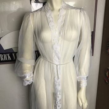 Vintage Chiffon CINEMA ETOILE Peignoir Dressing Gown / Sheer White Wedding Bridal Robe / Long Maxi Open Front Lace Trim Duster Bed Jacket