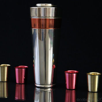 Bar Set 1950-60s Cocktail Shaker & 6 Cups Vintage Mid-Century modern Space age Rockabilly Atomic 50s 60s anodized aluminum