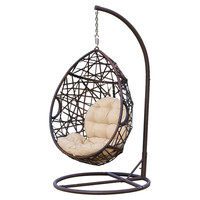 Bungalow Rose Auxerre Tear Drop PVC Swing Chair with Stand & Reviews | Wayfair