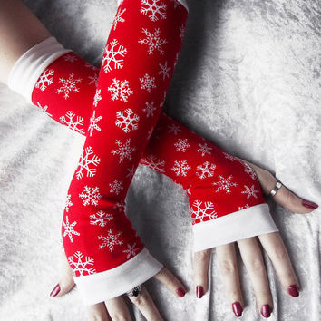 Comfort and Joy Arm Warmers - Rich Red Ice White Snowflakes Cotton - Winter Yoga Christmas Gloves Holiday Snow Frozen Gift Idea Cycling
