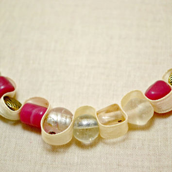 Chunky Rose and clear glass bead necklace with ivory ribbon. Beaded ribbon jewelry. Unique gift. Ships free to U.S.