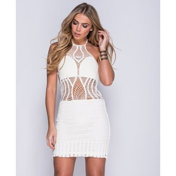 White Crochet Halter Neck Mini Dress