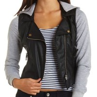 Layered Mixed Media Moto Jacket by Charlotte Russe - Black Combo