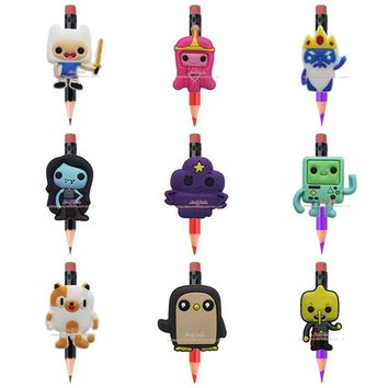 Novelty 8PCS Adventure Time cartoon pencil topper Stationery set Pen loop Pencil&Writing Supplies accessories Kids party gifts
