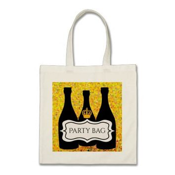 Party bag wine with a crown and label confetti