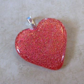 Sparkly Red Heart Jewelry, Dichroic Glass Heart Pendant, Omega Slide, Love Jewelry, Etsy Fashion Jewelry - Loving Feeling - 4079 -3