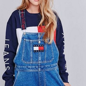 Tommy Jeans Classic Long Denim Dungarees - Urban Outfitters