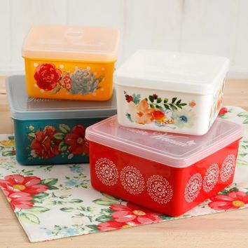 The Pioneer Woman Flea Market 4-Piece Square Food Container Set - Walmart.com