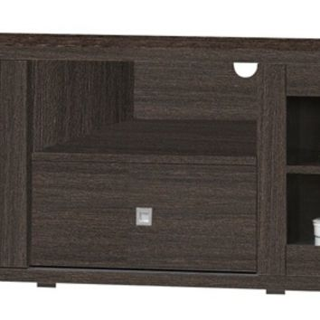 Espresso finish wood wide TV stand with glass cabinet doors