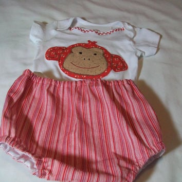 Sock Monkey Baby Outfit - 12 month baby clothes - Boy appliqued bodysuit - 12 Month Diaper Cover Set