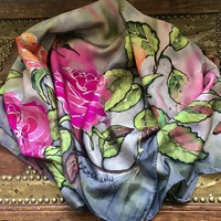 Roses, Large Silk Scarf, Signed WEATHERLY, Pink, Orange, Green, SUMMER SALE