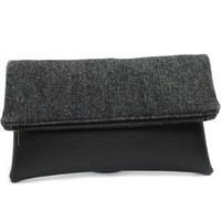 Black Foldover Clutch Bag, Wool Leather Bag, Black Clutch Purse,Wool Fold Over Clutch,Foldover Zip Clutch,Vegan Leather Bag,Large Clutch bag