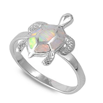 Sterling Silver Sea Turtle 16MM White Lab Opal Ring