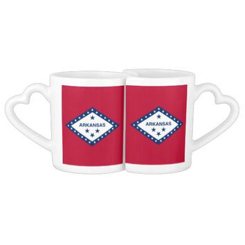 Patriotic lovers mugs with Flag of Arkansas
