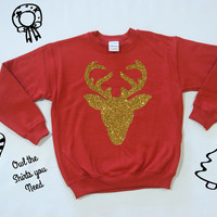 SPARKLY DEER Sweatshirt. UGLY Christmas Sweater. Holiday Sweatshirt. Holiday shirt. Holiday tshirt. Chistmas tee. Christmas shirt. Deer tee